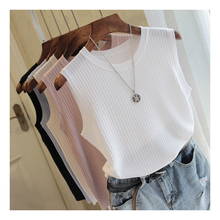 White Top Knitted Tank Tops Women Sleeve