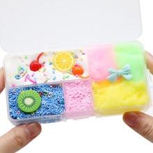 Colorido fruta lodo diy algodão lama brinquedo cereja algodão lama bonito borracha elástica cristal crianças brinquedos educativos
