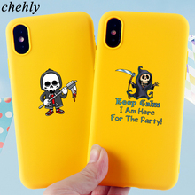 Skull Phone Case for iPhone X XR XS Max 8 7 6 S Plus Happy Halloween Cases Soft Silicone Fitted Mobile Accessories Covers