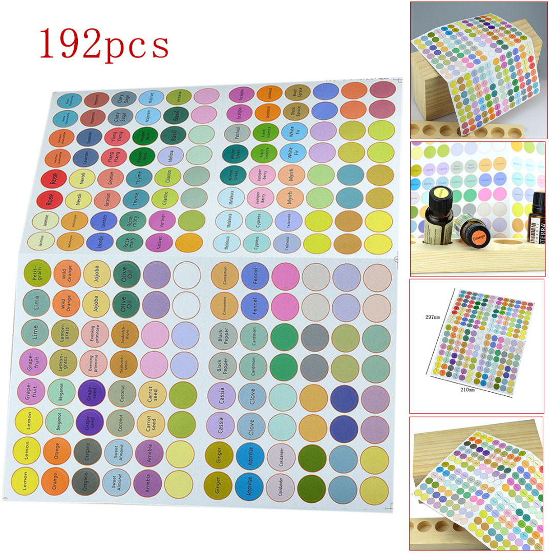 192pcs 13mm Waterproof Round Essential Oil Bottle Cap Stickers Labels Self-adhesive Round Blank Labels For Essential Oil Bottle
