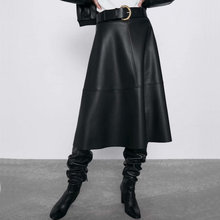 Long Skirts Belt Maxi A-Line Faux-Leather Elegant High-Waist Women with Midi Female Autumn