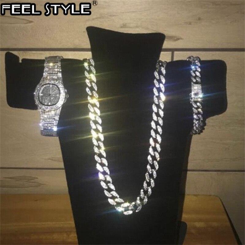 Collar de Color plateado + reloj + pulsera Hip Hop Miami Curb cadena cubana con diamantes de imitación incrustados CZ Bling Rapper para hombres joyería