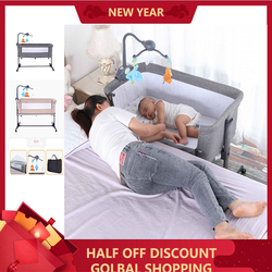 European Style Baby Bed Multifunctional Newborn Solid Wood Bedside Crib Portable Splicable With Mosquito Net Suitable 0-3 Year