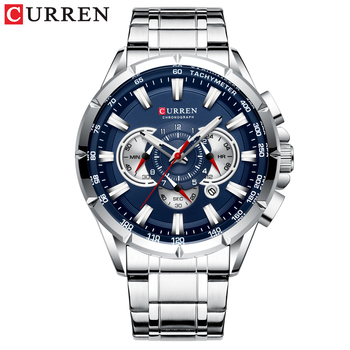 CURREN New Causal Sport Chronograph Men's Watches Stainless Steel Band Wristwatch Big Dial Quartz Clock with Luminous Pointers 7