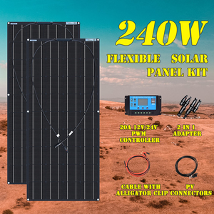 240W 360w Flexible Solar Panel 12V Kits Charge Controller Extension Cable for Battery RV Trailer Boat Cabin Caravan Truck