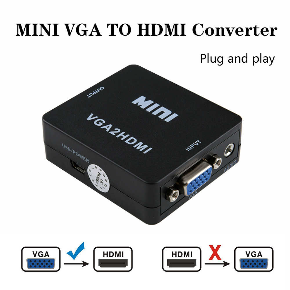 1080P MINI VGA to HDMI Converter With Audio VGA2HDMI Video Box Adapter for Notebook PC for HDTV Projector