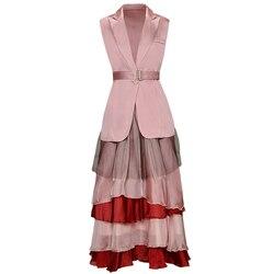 Красный RoosaRosee дизайнерский комплект из двух предметов, Женская куртка без рукавов с отложным воротником + юбка с эластичной резинкой на тал...
