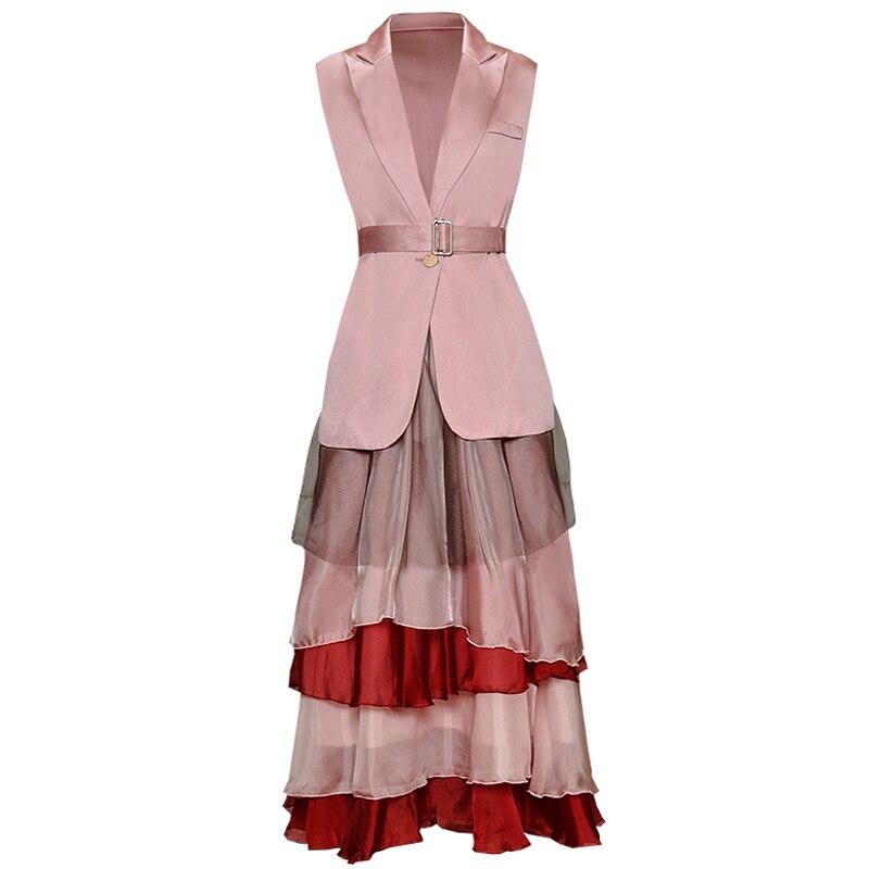 Rouge RoosaRosee Designer deux pièces ensemble femmes col rabattu veste sans manches + taille élastique jupe femme costume mode 2019