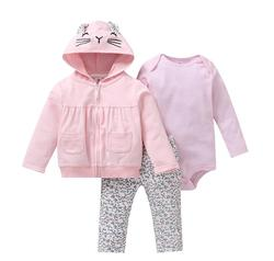 long sleeve hooded coat+bodysuit cotton+pants newborn boy set winter fall infant clothing  new born outfit