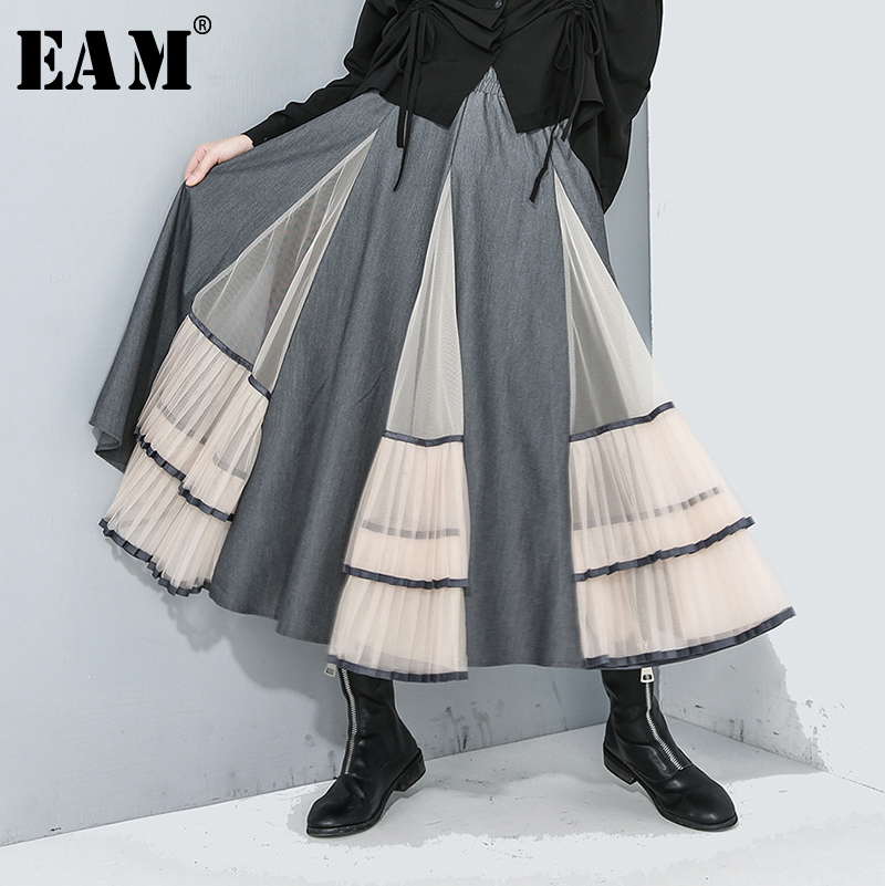 [EAM] High Elastic Waist Gray Mesh Split Pleated Temperament Cake Half-body Skirt Women Fashion New Spring Autumn 2020 1R187