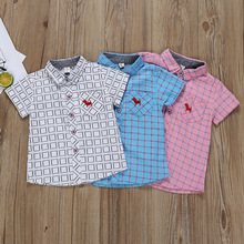 Children Boy Cotton Short Sleeve Shirt Summer Plaid Cartoon Puppy Printed Tops T