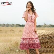 Женское платье с коротким рукавом vicone v образным вырезом