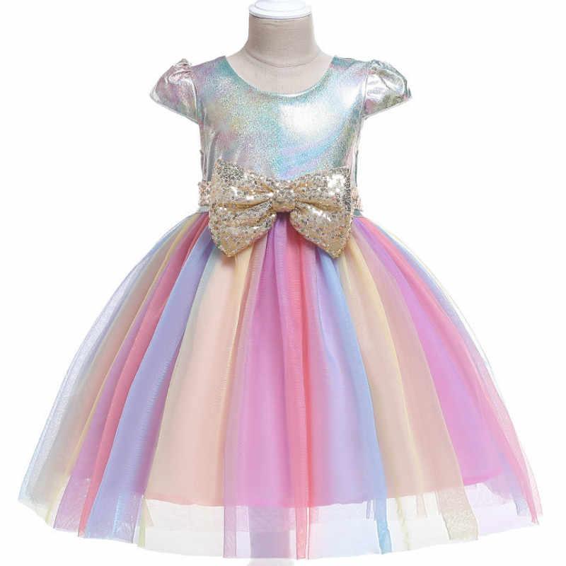 Bé Cô Gái Hoa Sọc Ăn Mặc Cho Cô Gái Unicorn Wedding Party Dresses Trẻ Em Công Chúa Giáng Sinh Ăn Mặc Trẻ Em Cô Gái Quần Áo