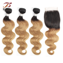 BOBBI COLLECTION Brazilian Body Wave T 1B 27 Honey Blonde Ombre Hair Bundles With Closure Pre-Colored Non Remy Human Weave