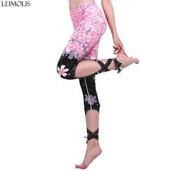 LEIMOLIS Cherry Blossom Gradual Strappy Bowknot Ribbons Plus Size High Waist Workout Punk Rock Fitness Leggings Women Pants bowknot plus size empire waist skater dress