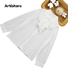 Koszula dla dziewczynki koronkowa biała bluzka dla dziewczynki Ruffles dziecięce koszule dla dziewczynek wiosna jesień duże dziewczynki szkolne tanie tanio Artishare Na co dzień COTTON Poliester Pełna Pasuje prawda na wymiar weź swój normalny rozmiar Suknem Dziewczyny Stałe