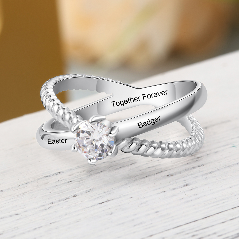 Personalized Engraved Meaningful Name Rings for Women Cubic Zirconia Promise Rings For Women Wedding Band