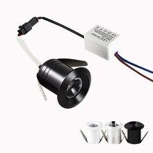 Mini Spot lumineux LED encastrable pour le plafond, disponible en noir, blanc ou doré, idéal pour un placard ou une vitrine, 1/3W, 20mm, dc 12/24V, 85/265V