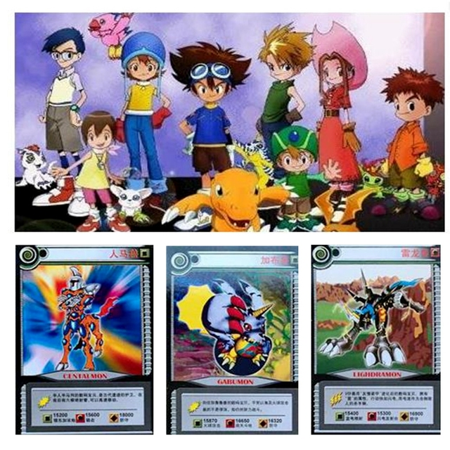 36 pcs/lot Cartoon Collection Cards Digimon Adventure Digital Agumon War Greymon Action Figures Evolution Trading Cards Kid Toy