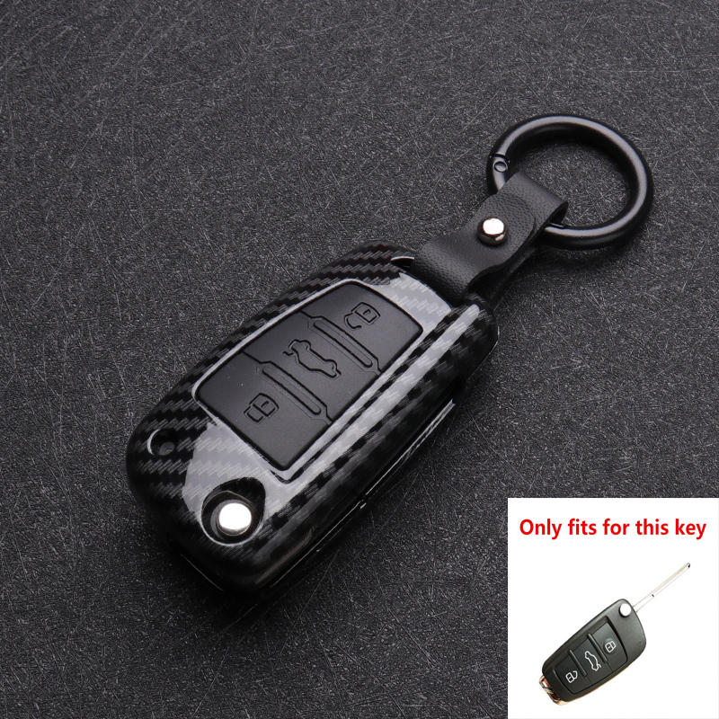 ABS Carbon fiber Silicone Car Key Cover Protector Case For Audi A3 A4 A5 C5 C6 8L 8P B6 B7 B8 C6 RS3 Q3 Q7 TT 8L 8V S3 keychain