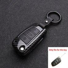 Fibra de carbono Carro de Sílica gel Dobrar Chave Do Caso Tampa de Proteção Shell Para Audi A3 A4 A5 A7 8L 8P B6 B7 B8 C6 4F RS3 Q3 Q7 TT 8L 8V S3