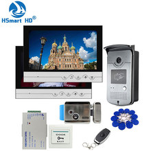 Sistema de intercomunicación para teléfono y puerta con cable, 9 pulgadas, 2 monitores + 1 acceso RFID, cámara IR 700TVL + cerradura eléctrica de Control para puerta