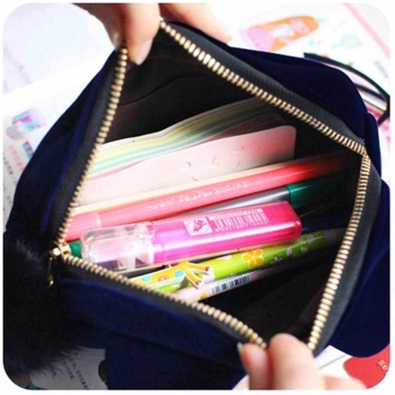 3 kolory przenośny kot kreskówkowy portmonetka flanelowe etui kosmetyczki podróżne dla kobiet dziewczynki kosmetyczki torebka