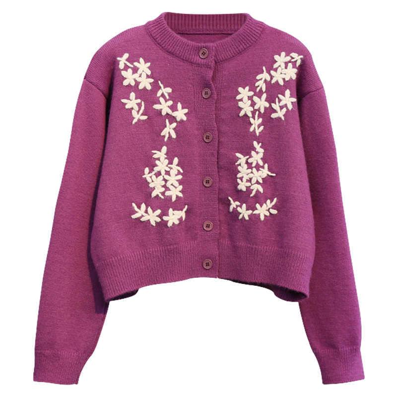 Neploe blusas casaco moda 2020 feminino doce curto malha cardigan coreano gancho flor único breasted o-pescoço pull jumpers 4a025