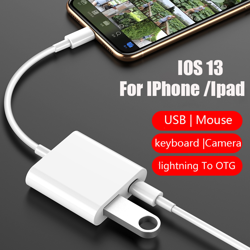 OTG Adapter For Apple Ipad USB Camera Reader Adapter For IOS 13 Lightning OTG Date USB Reader Adapter For IPhone Ipad 11 Pro