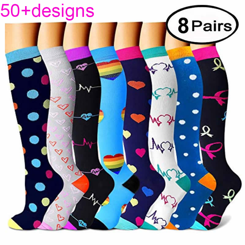 60+ Designs Women&Men Long Knee High Socks Girls Compression Stretch Socks Sports Profession Elastic Nurses Relief Calf Socks