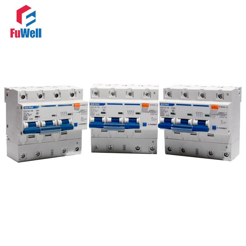 Disjoncteur à DZ47LE-125 3P + N Protection contre les surintensités RCBO anti-fuite 80/100/125A disjoncteur à courant résiduel
