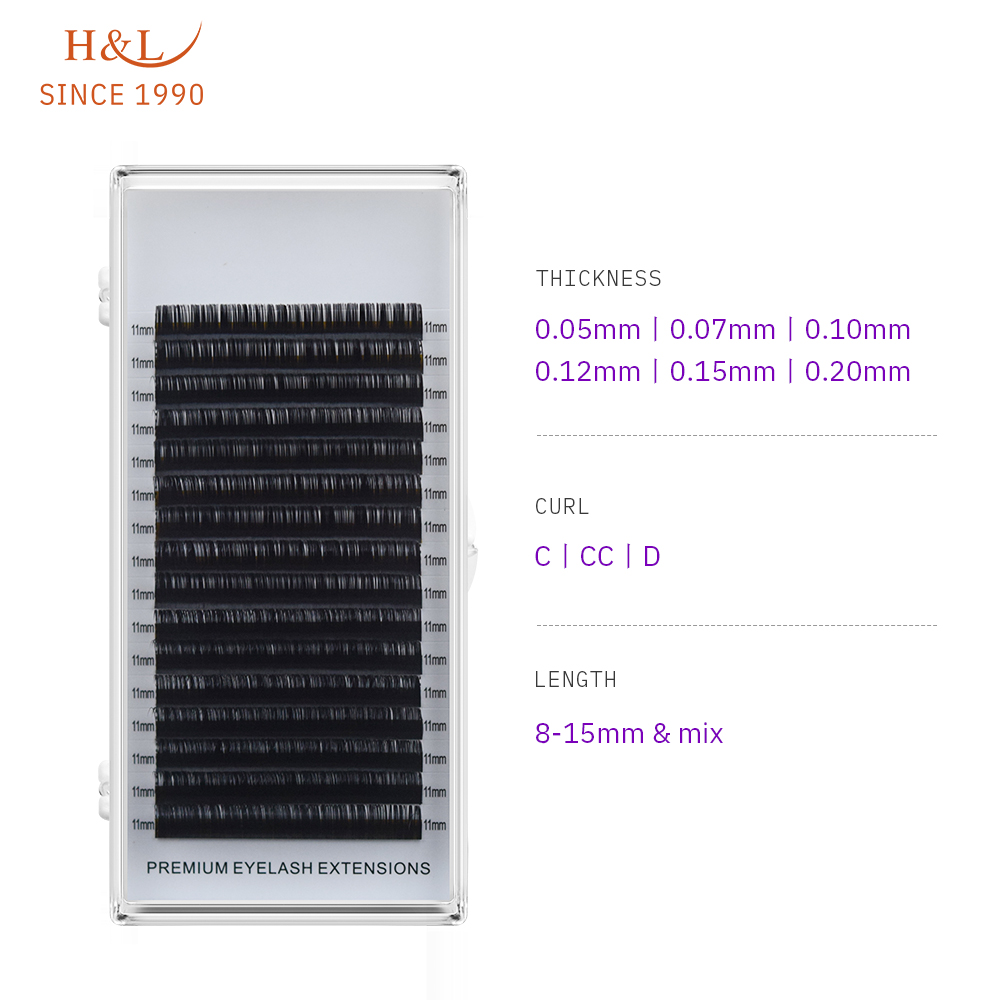 H&L SINCE 1990 16Rows Faux Mink Individual Eyelash Extensions For Professionals Soft Mink Matte Lash
