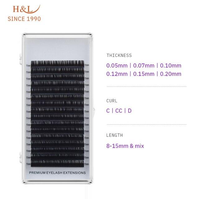 H&L SINCE 1990 16Rows Faux mink individual eyelash extensions for professionals soft mink matte lash