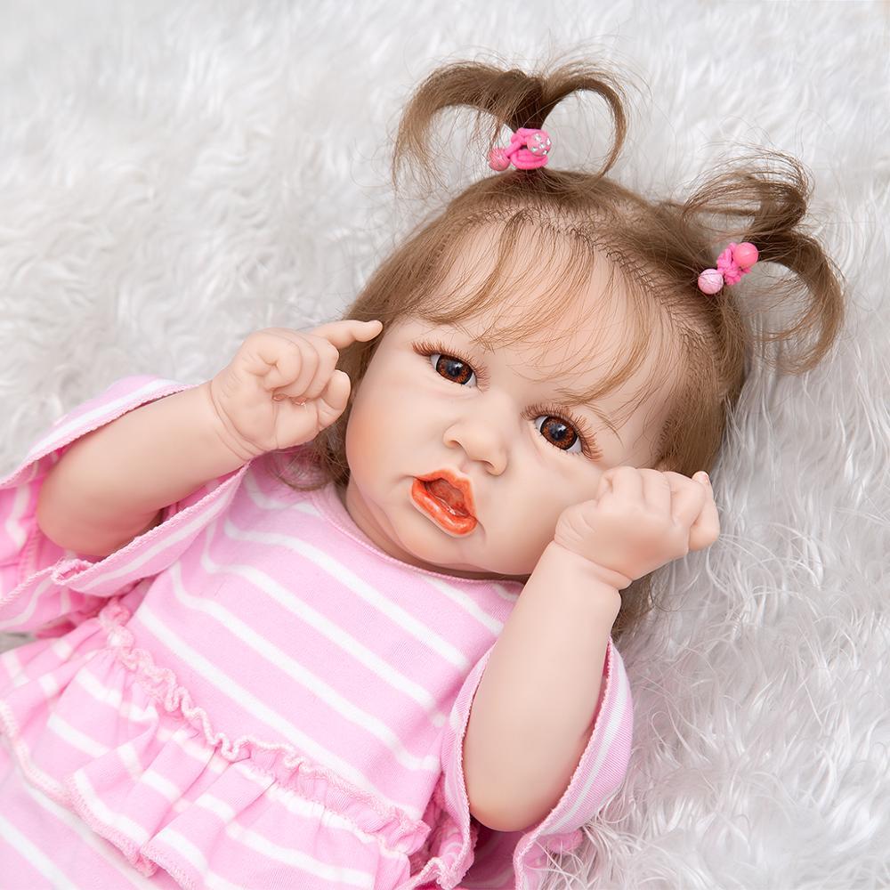Милая кукла новорожденная, 23 дюйма, полностью силиконовая виниловая Реалистичная кукла с волосами, детская игрушка, подарки для детей, кукл...