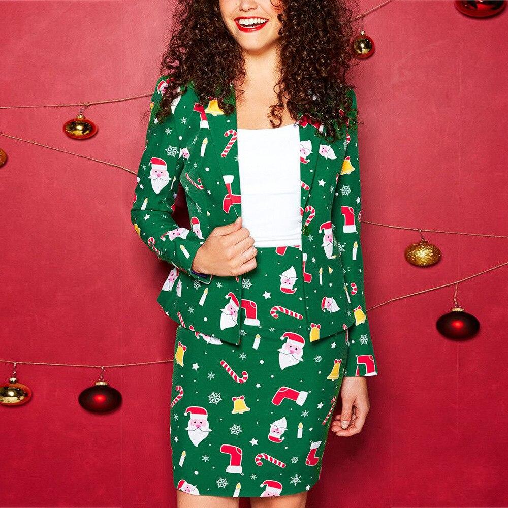 New Women Notched Blazer Skirt Suit Christmas Printed Jacket & Mini Skirt Women Suits Female Sets 2019 Elegant 2 Piece Women Set