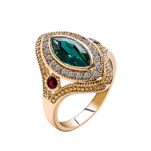 Bohemian Oval Engagement Rings For Women Jewelry Gold Ring Female Vintage Green Green
