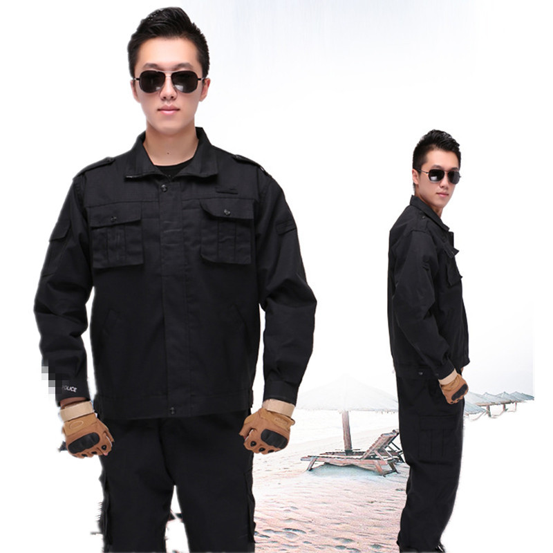 Black And White With Pattern Security Staff Clothes On Duty Black And White With Pattern Training Clothes Tear-Proof Work Clothe