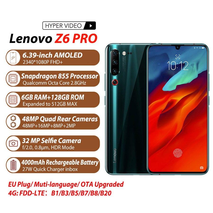 Global Versão Lenovo Z6 Pro 8GB + 128GB 4000mAh Snapdragon 855 Telefone Móvel 6.39 polegada 48MP Quad câmeras de Vídeo 4K 4G de Smartphones