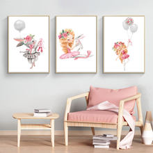 Cute Rabbit and Girl Dancing Canvas Painting Print Cartoon Posters for Kids Room Bedroom Home Wall Decorative Art Pictures Gifts