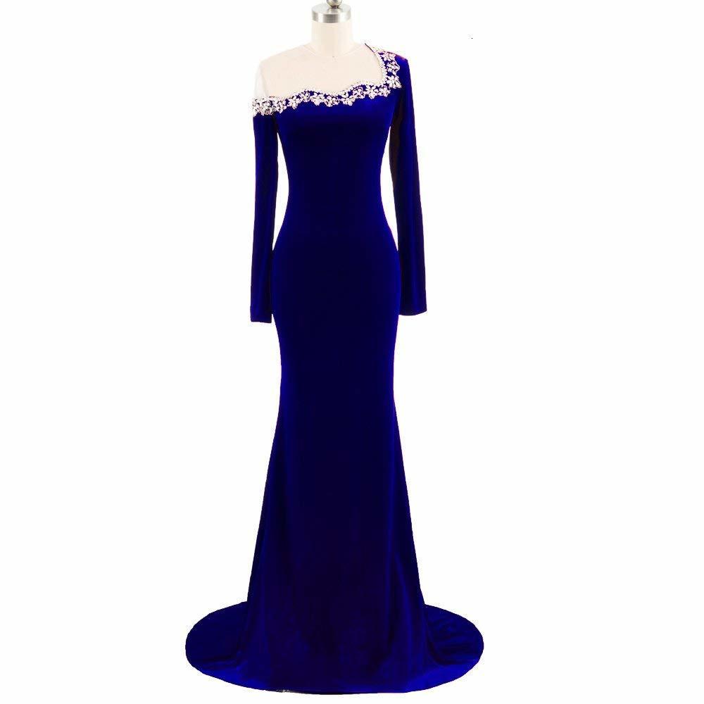 2020 Vintage Burgundy Bridesmaid Dresses with Sequins Crystal Mermaid Long Sleeves Velvet Formal Prom Gowns Sweep Train