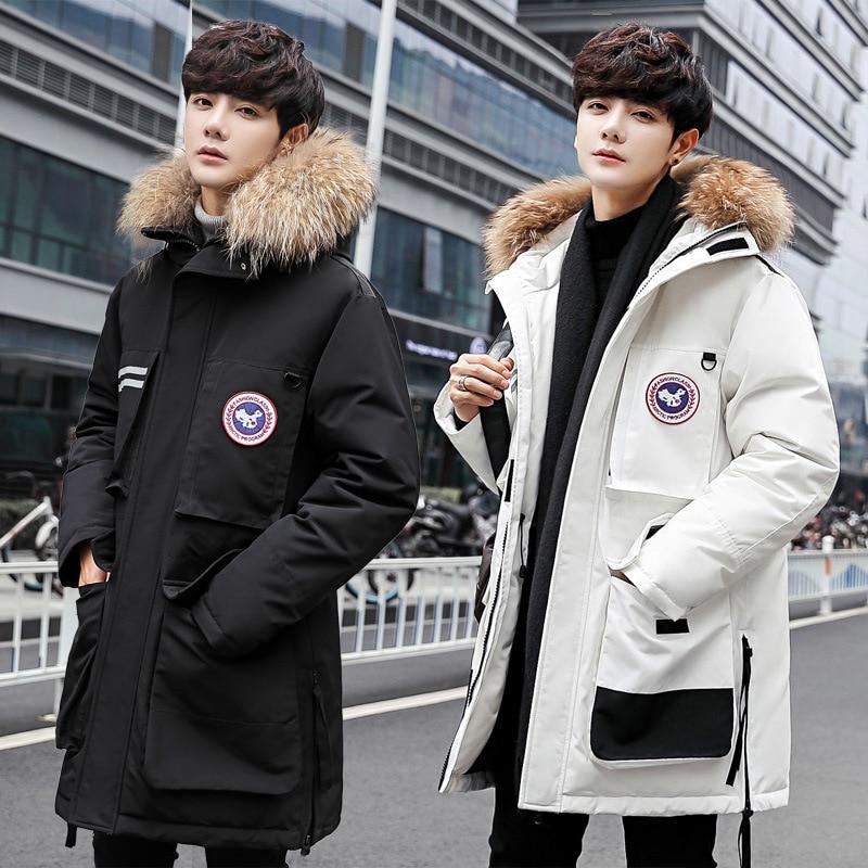Канадский пуховик для мужчин и женщин 2018 новый стиль COUPLE'S средней длины корейский стиль стильное красивое пальто толстая зимняя куртка