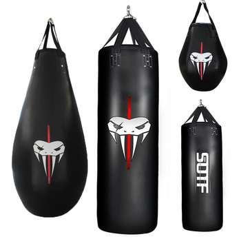 Recycled product filled boxing bags.