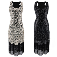Women's 1920s Sequin Paisley Pattern Sleeveless Racer Back Flapper Black Gold Dress Sexy Fringe Great Gatsby Party Dress DT1341
