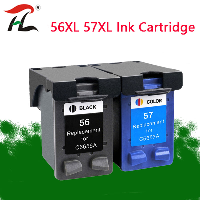 YLC 56XL 57XL ink <font><b>cartridge</b></font> replacement for <font><b>hp</b></font> 56 57 hp56 hp57 Deskjet 450 450cbi 450ci 450wbt F4140 F4180 5150 <font><b>5550</b></font> printer image