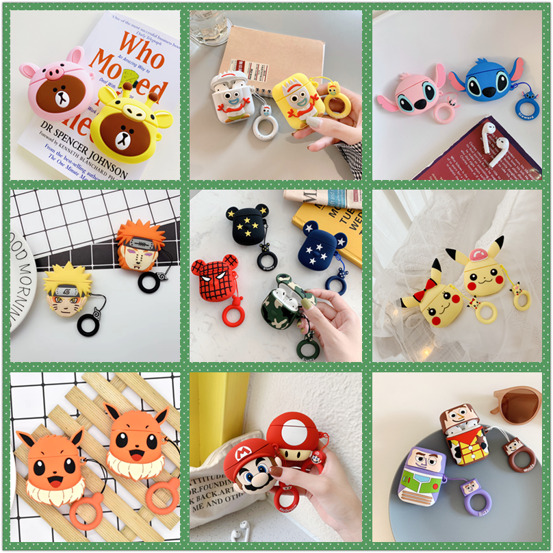 Anime Naruto Earphone <font><b>Cases</b></font> for Apple airpods2 silicone Cute Cartoon 3d Bear <font><b>Pikachu</b></font> Shockproof For <font><b>airpods</b></font> <font><b>case</b></font> soft cover image