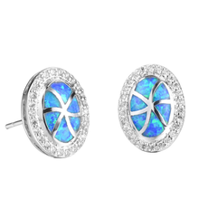 цена на Silver Plated Alloy Oval Shape 5 Colors Opalite Opal Stud Earrings with Rhinestone Fashion Jewelry