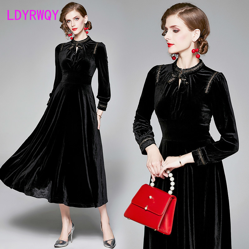 2019 European and American style temperament autumn and winter slim black velvet dress Ankle-Length  Regular