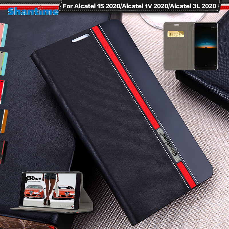 Luxury PU Leather Case For Alcatel 1S 2020 Flip Case For Alcatel 1V 2020/Alcatel 3L 2020 Phone Case Soft TPU Silicone Back Cover(China)