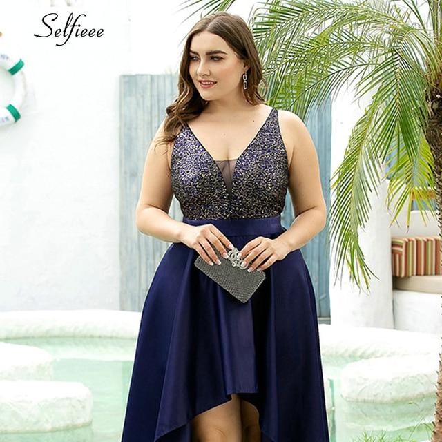 Plus Size Sequin Dress A-Line Spaghetti Straps V-Neck Sequined Asymmetrical Ruffles Elegant Satin Party Dress Vestidos De Verano 5