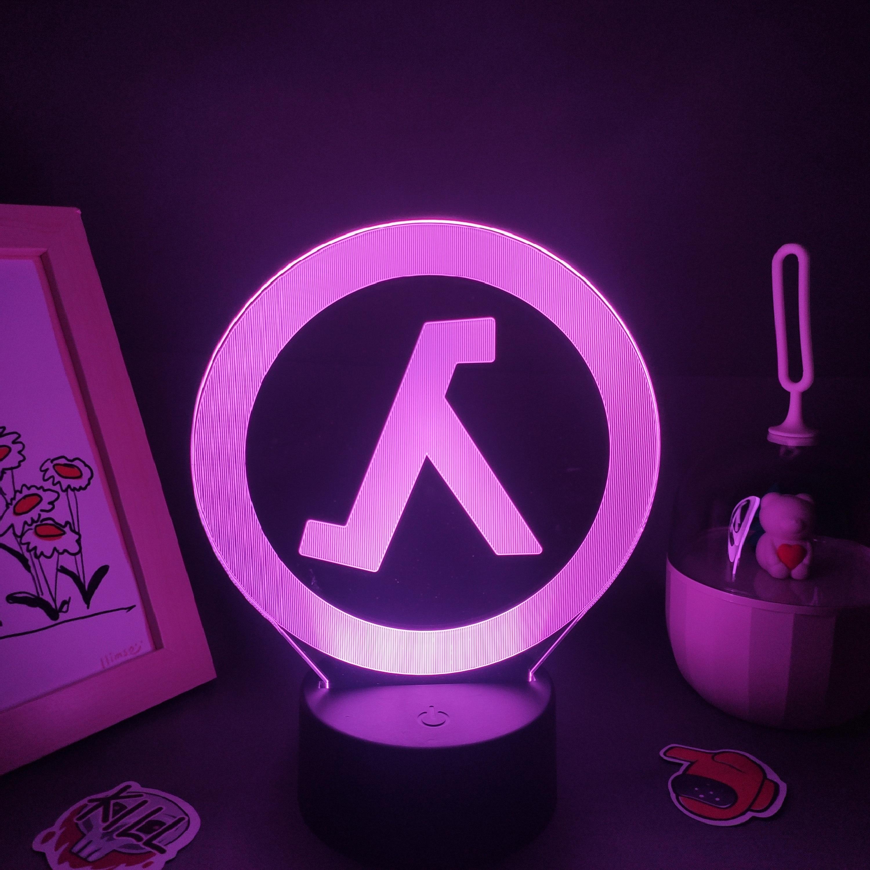 Hfc497a88404d406dab71e03e27519863S Luminária Half-life valve da lâmpada fps jogo marca logotipo 3d led rgb luzes da noite presente de aniversário colorido para o amigo lava lâmpada quarto cama mesa decoração